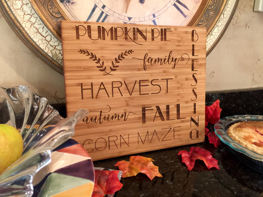 Thanksgiving Bamboo Wood Board