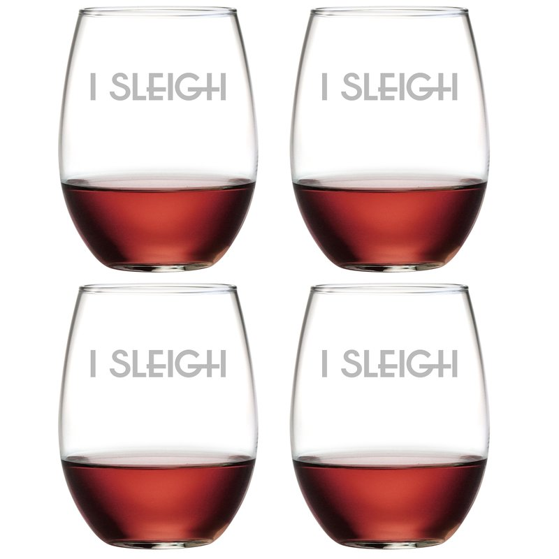 I Sleigh ~ Stemless Wine Glasses | Christmas Wine Glasses
