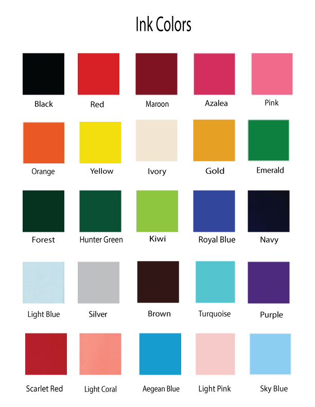 Ink Color Choices - Baby Milestone Blankets