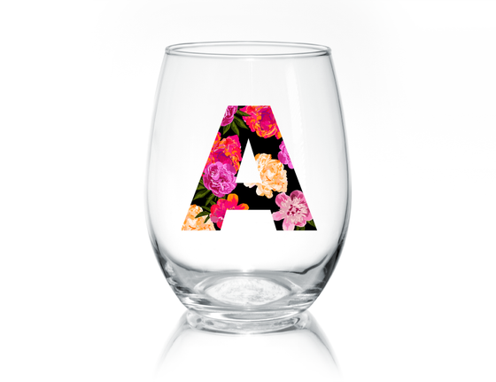 Floral Letter Stemless Wine Glass - Joella Design