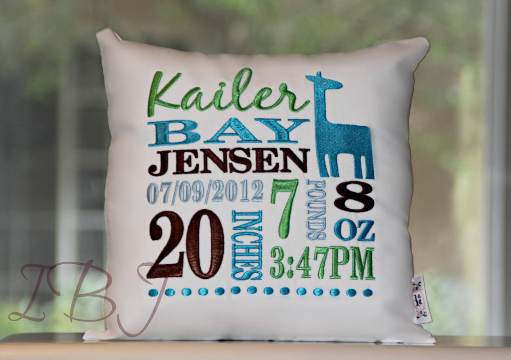 Giraffe Birth Announcement Pillow