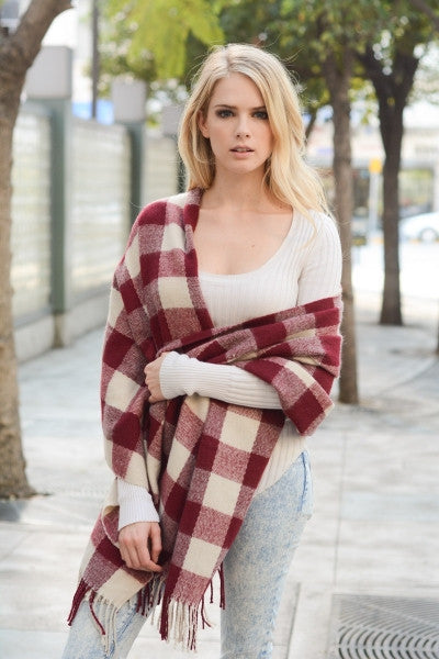 Buffalo Check Scarf with Fringe - Brick Red