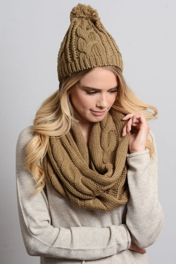 Cable Knit Scarf and Hat Set