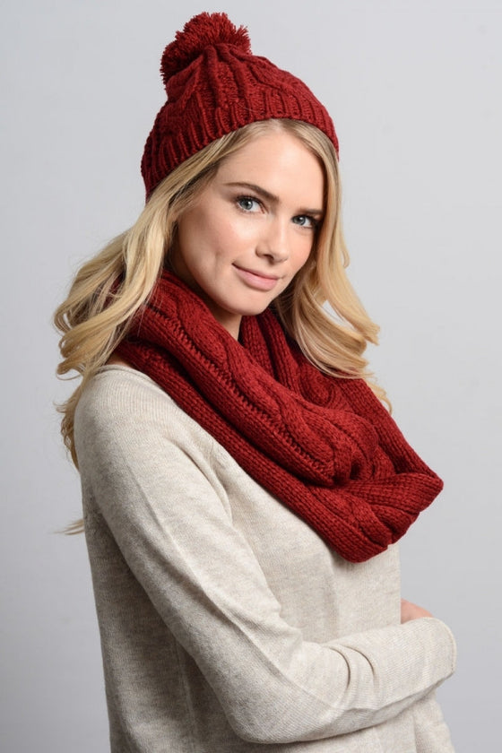 Cable Knit Scarf and Hat Set - Red
