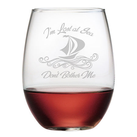 Lost at Sea Stemless Wine Glasses - Set of 4