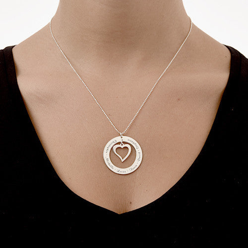 Open Heart Necklace with Engraving - Sterling Silver