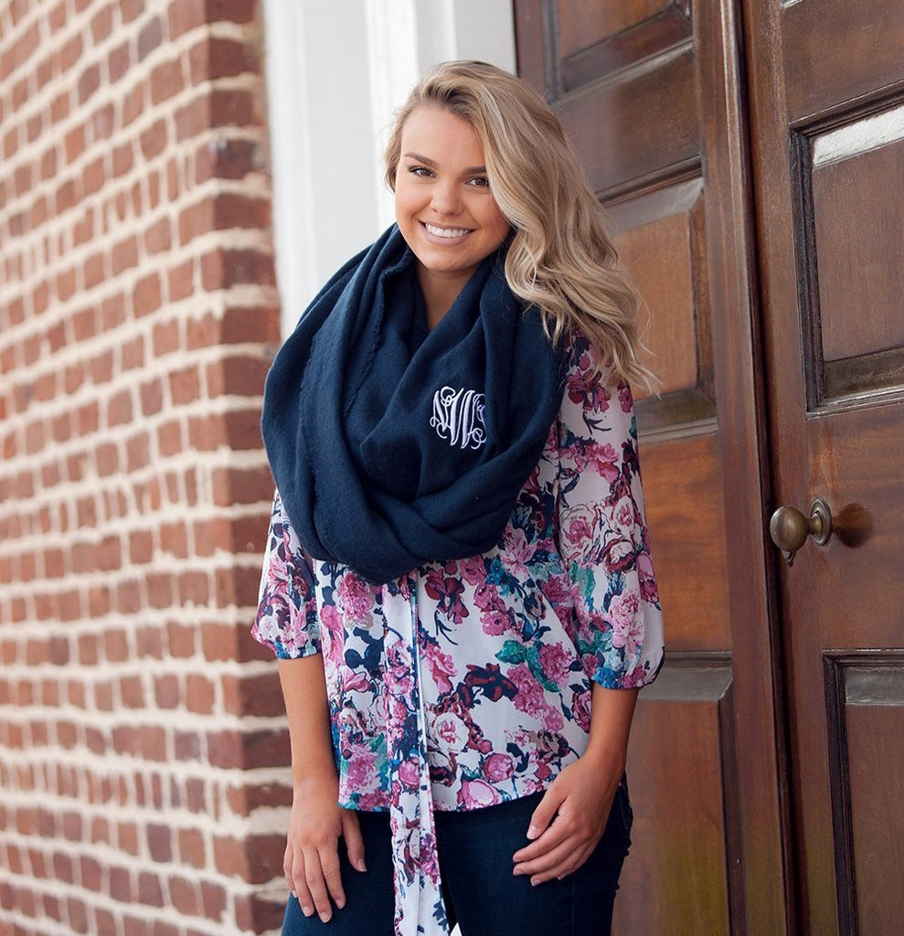 Infinity Scarf Monogrammed - Navy