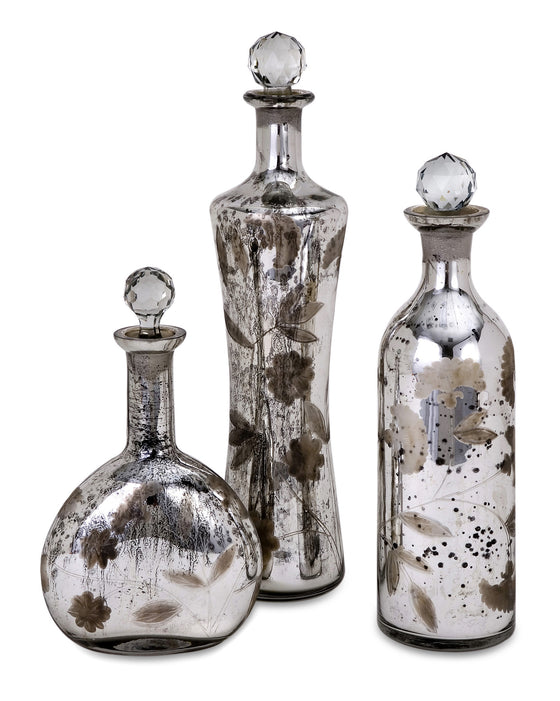 Antiqued Etched Mercury Glass Bottles