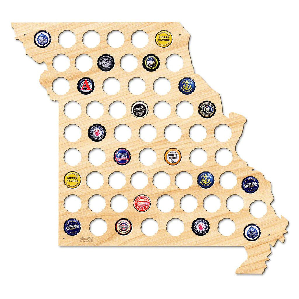 Beer Cap Holder Beer Cap Display Gift for Him Wedding Gift Fathers Day Birthday  Unique Christmas Gift Missouri Beer Cap Map MO