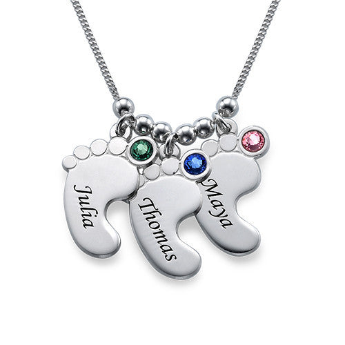 Baby Feet Birthstone Necklace - Personalized