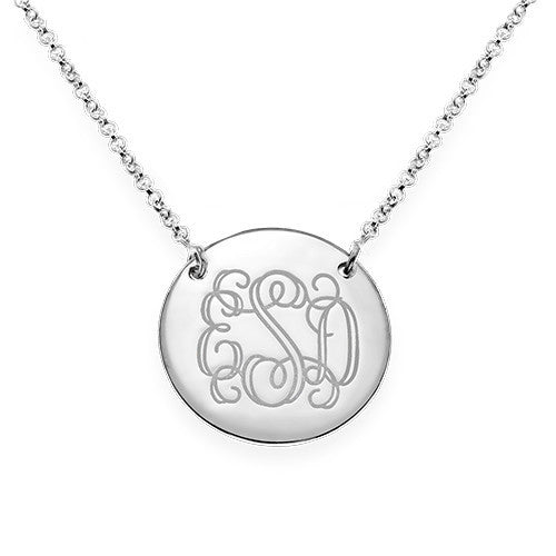 Monogram Disc Sterling Silver Necklace