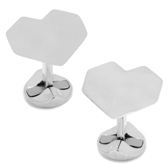 Origami Heart Sterling Silver Cufflinks