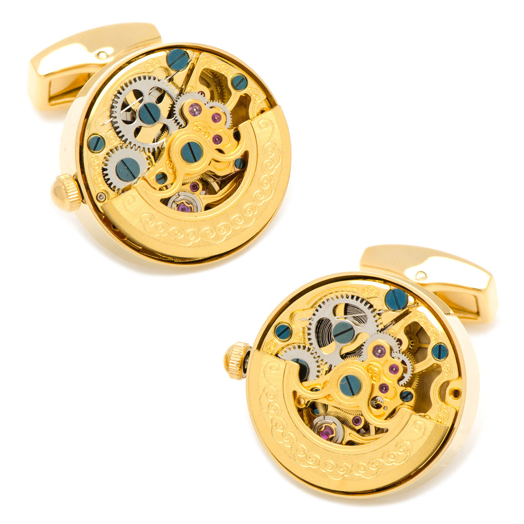 Kinetic Watch Movement Cufflinks - Gold