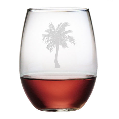 Palm Tree Stemless Wine Glasses