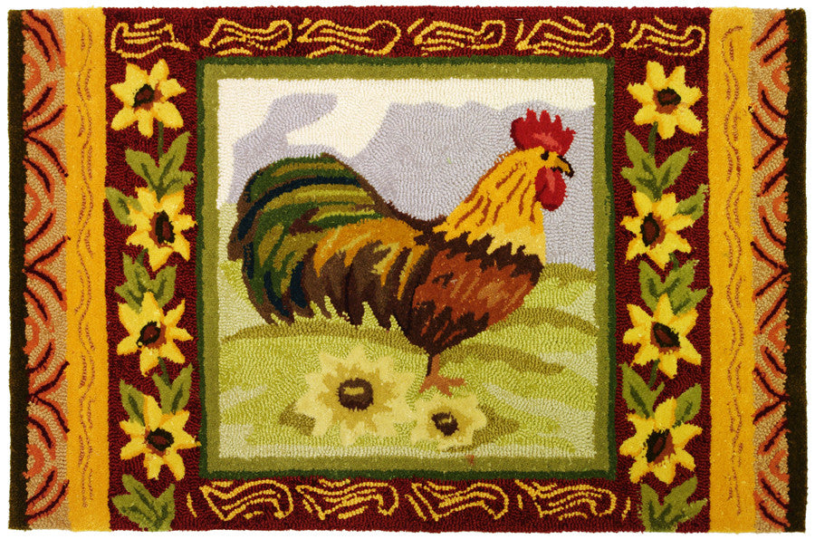 Sunflower Rooster Accent Rug