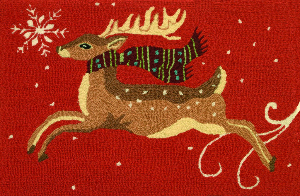 Red Deer Leaping Accent Rug