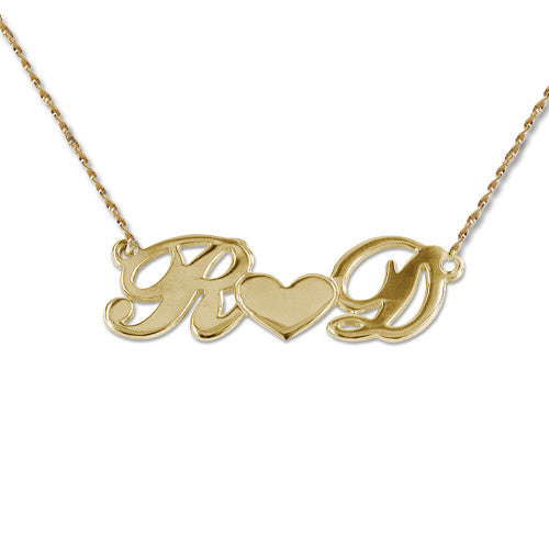 Couples Initials 14K Gold Necklace