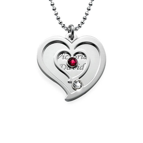 Overlay Heart Sterling Silver Necklace