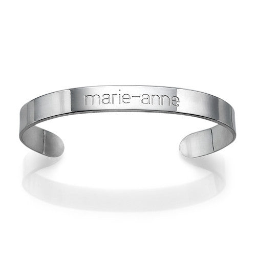 Engraved Cuff Bracelet - Sterling Silver