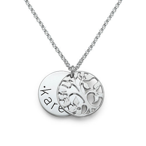 One Name Family Tree Necklace - Sterling Silver