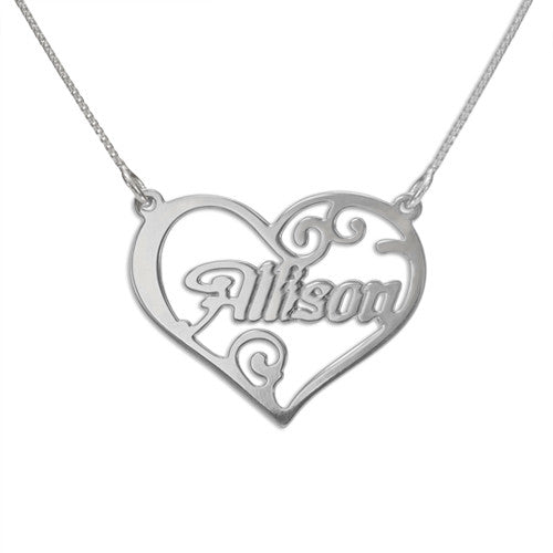 Heart Name Sterling Silver Necklace