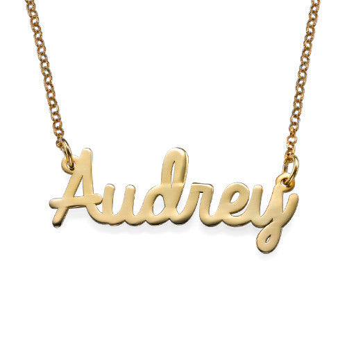Cursive Name 18K Gold Plated Necklace