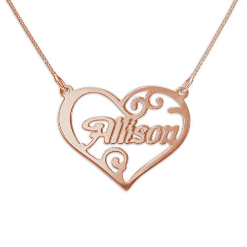 Heart Name Rose Gold Necklace