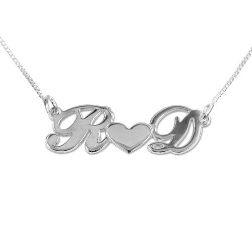Couples Initials Sterling Silver Necklace