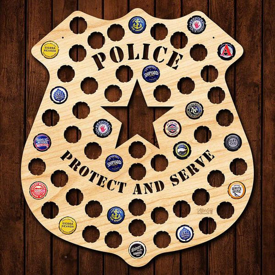 Police Badge Beer Cap Sign - Premier Home & Gifts