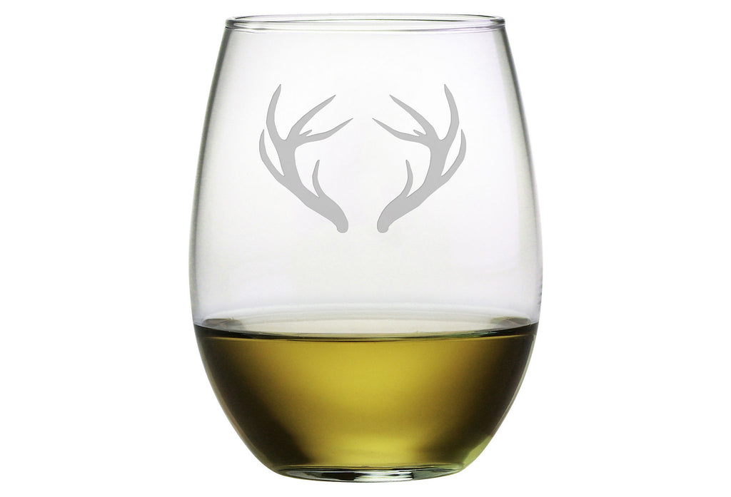 Caribou Antlers Stemless Wine Glasses