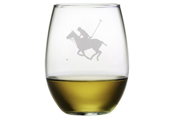 Polo Profile Stemless Wine Glasses ~ Set of 4