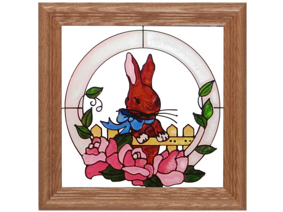 Bunny in the Garden Hand Painted Stained Glass Art