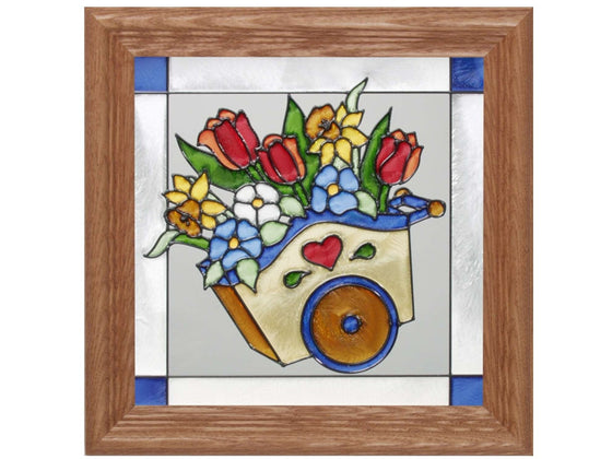 Flower Cart Hand Painted Stained Glass Art - Premier Home & Gifts