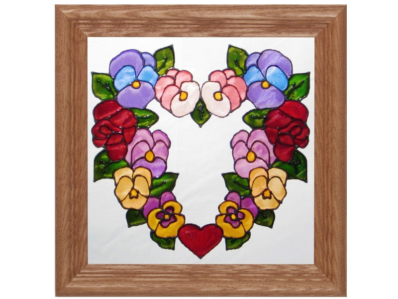 Heart of Flowers Hand Painted Stained Glass Art - Premier Home & Gifts
