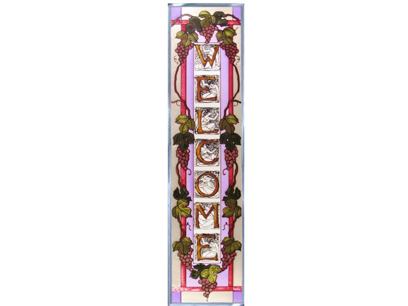 Welcome Sign with Grapevine Stained Glass Art