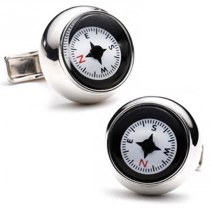 Compass Sterling Silver Cufflinks