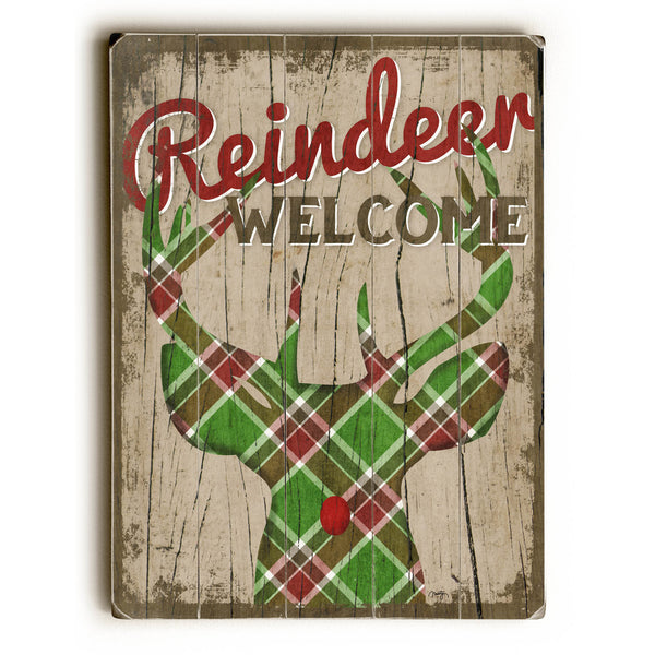 Reindeer Welcome Wood Sign