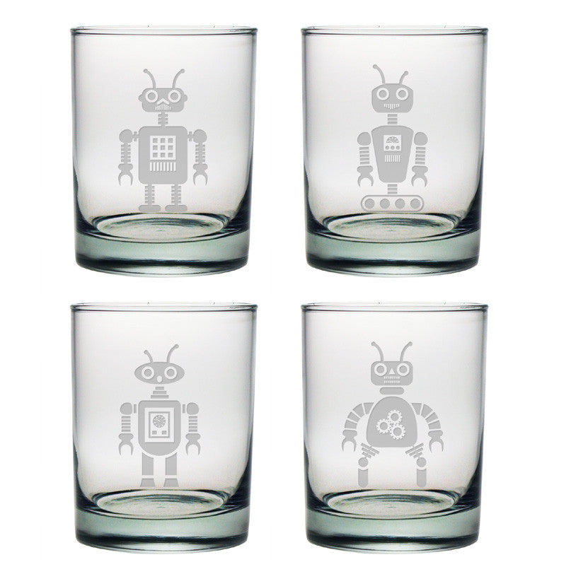 Robot Designs Double Old Fashioned Glasses