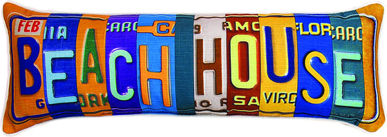 Beach House Licence Plate Pillow