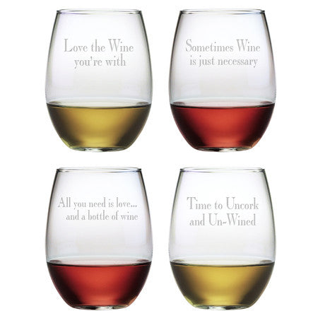 Say It With Wine Stemless Wine Glasses ~ Set of 4