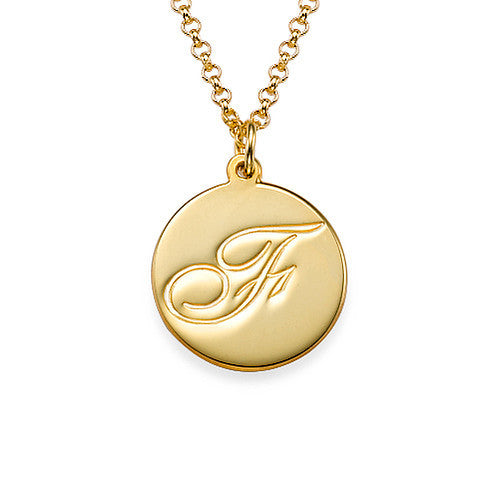 Script Initial Pendant Necklace in 18k Gold Plating