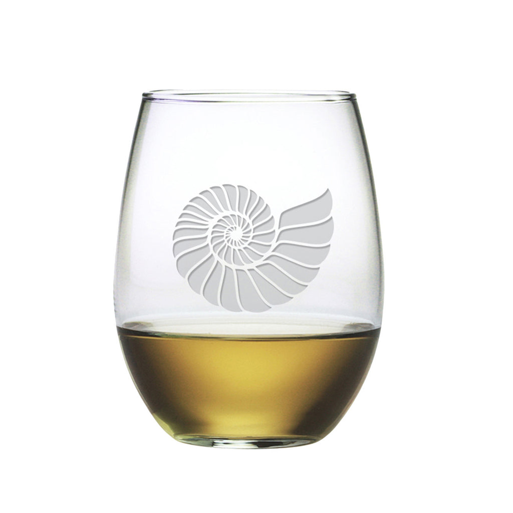 Nautilus Shell Stemless Wine Glasses