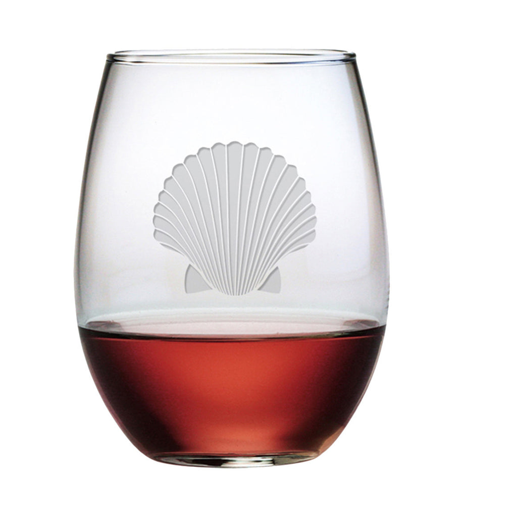 Fan Shell Stemless Wine Glasses
