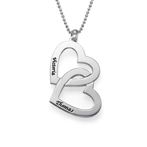 Intertwined Leaning Hearts Sterling Silver Necklace