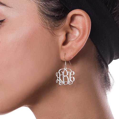 Monogram Sterling Silver Earrings