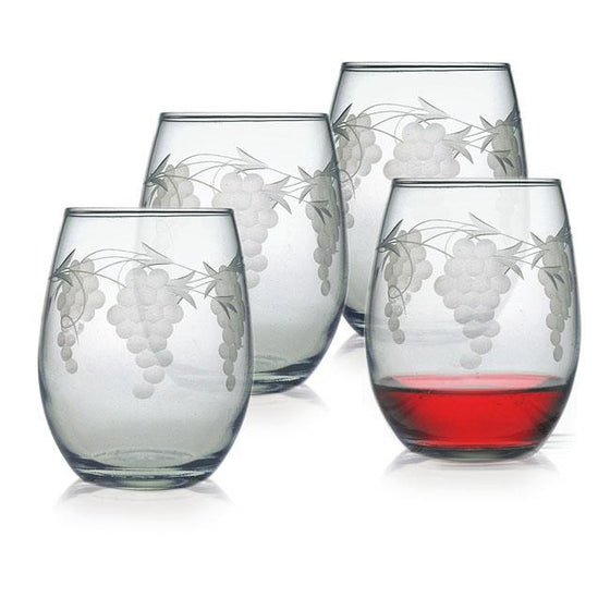 Sonoma Grape Stemless Wine Glasses ~ Set of 4