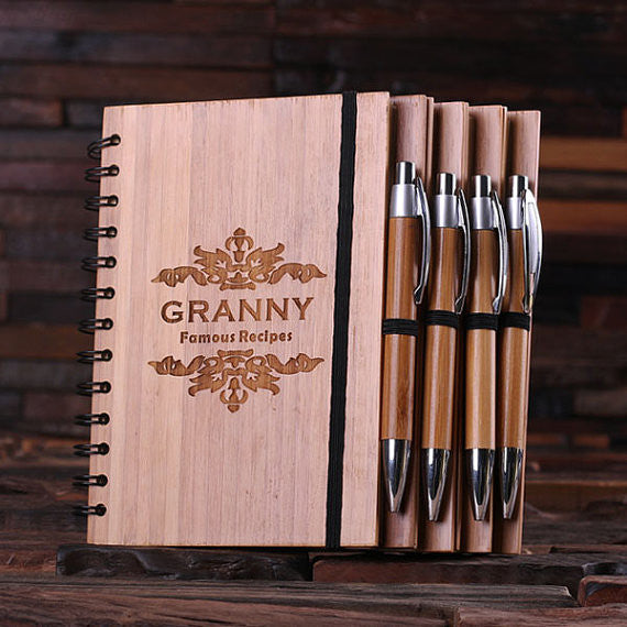 Bamboo Notebook and Pen - Personalized