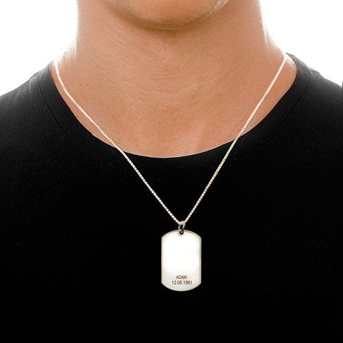 Dog Tag Necklace - Sterling Silver
