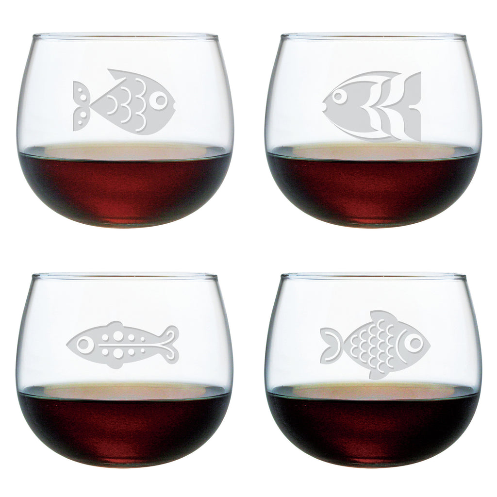 Fish Assortment ~ Stemless Wine Glasses ~ Set of 4