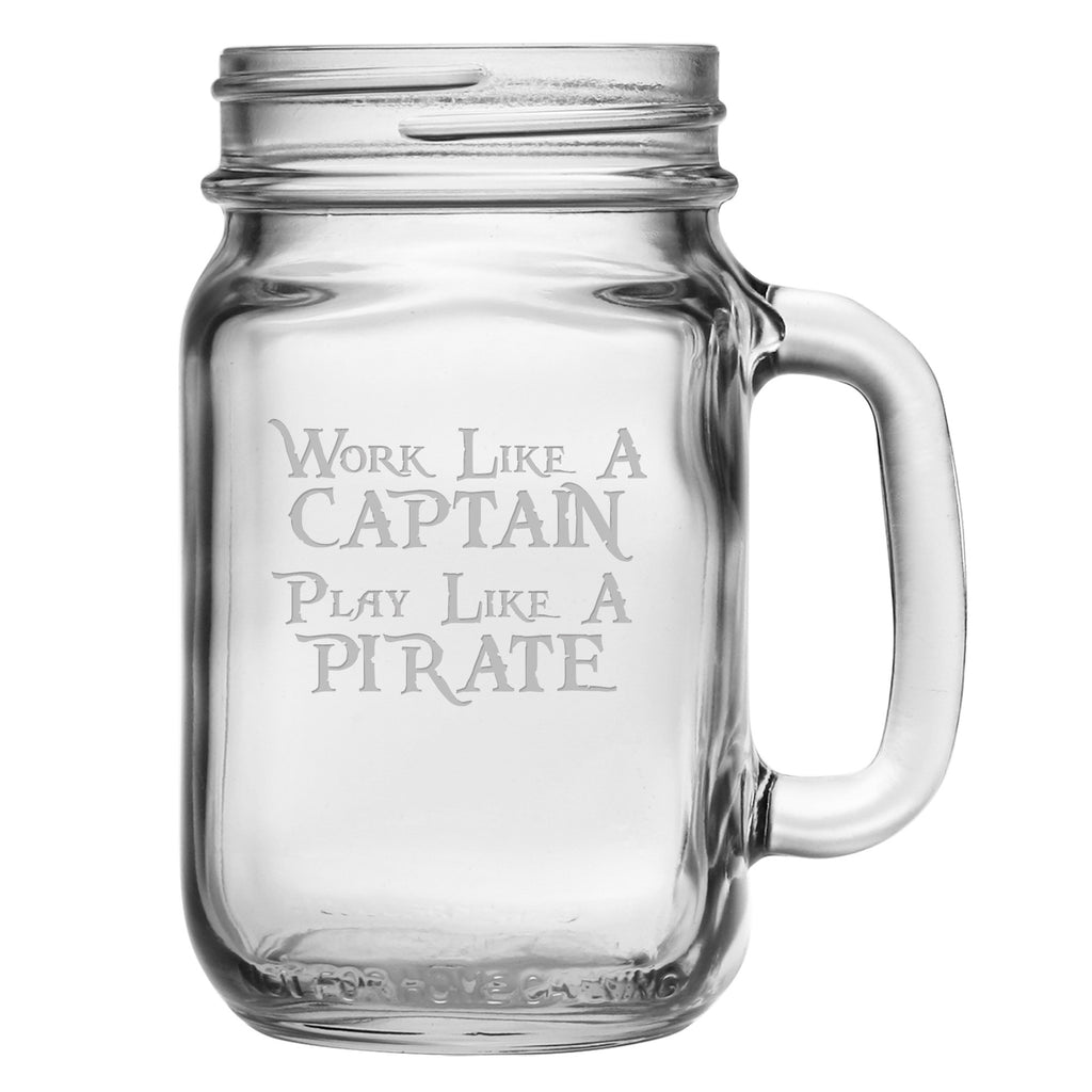 Work Like a Captain Drinking Jar w/Handle ~ Set of 4